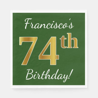 Green, Faux Gold 74th Birthday + Custom Name Napkin