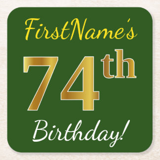 Green, Faux Gold 74th Birthday + Custom Name Square Paper Coaster