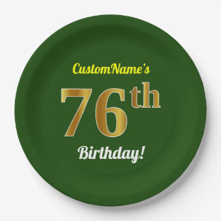 Green, Faux Gold 76th Birthday + Custom Name Paper Plate