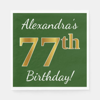 Green, Faux Gold 77th Birthday + Custom Name Disposable Napkins