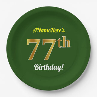Green, Faux Gold 77th Birthday + Custom Name Paper Plate