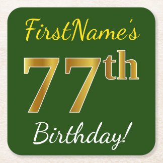 Green, Faux Gold 77th Birthday + Custom Name Square Paper Coaster
