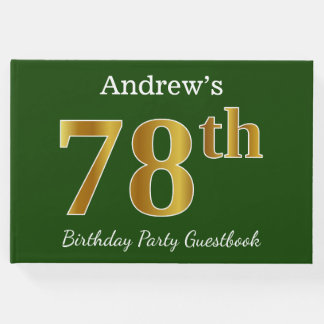 Green, Faux Gold 78th Birthday Party + Custom Name Guest Book