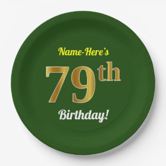 Green, Faux Gold 79th Birthday + Custom Name Paper Plate
