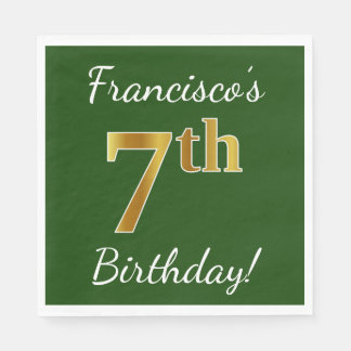 Green, Faux Gold 7th Birthday + Custom Name Paper Napkins