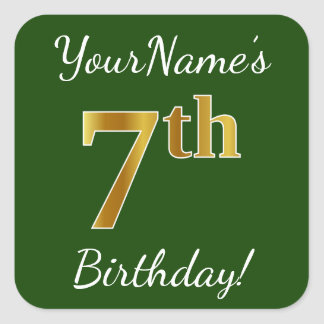 Green, Faux Gold 7th Birthday + Custom Name Square Sticker