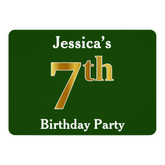 Green, Faux Gold 7th Birthday Party + Custom Name Card