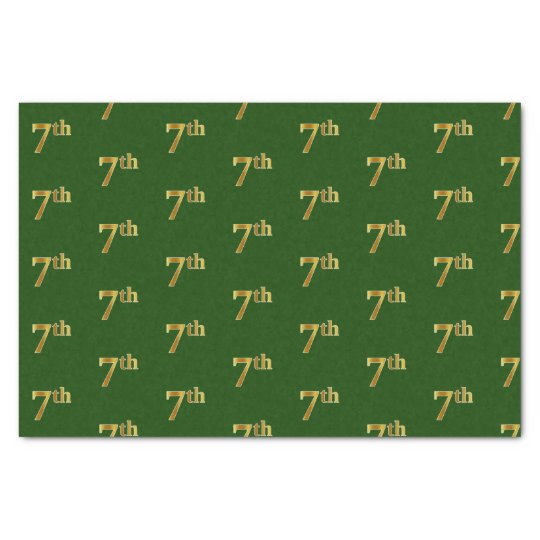 Green, Faux Gold 7th (Seventh) Event Tissue Paper