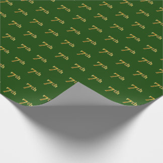 Green, Faux Gold 7th (Seventh) Event Wrapping Paper