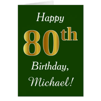 Green, Faux Gold 80th Birthday + Custom Name Card