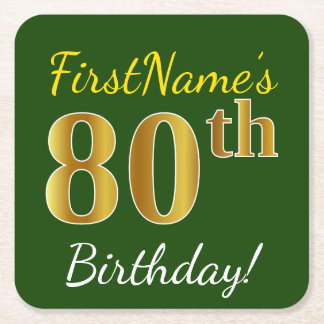 Green, Faux Gold 80th Birthday + Custom Name Square Paper Coaster