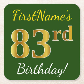 Green, Faux Gold 83rd Birthday + Custom Name Square Paper Coaster
