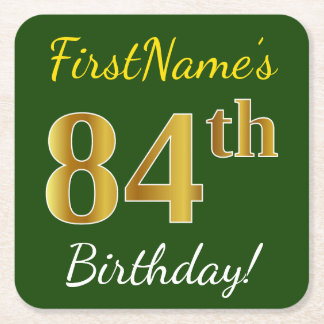Green, Faux Gold 84th Birthday + Custom Name Square Paper Coaster