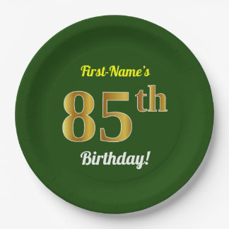 Green, Faux Gold 85th Birthday + Custom Name Paper Plate