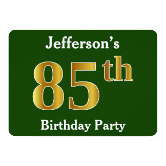 Green, Faux Gold 85th Birthday Party + Custom Name Card