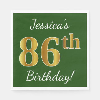Green, Faux Gold 86th Birthday + Custom Name Paper Napkins