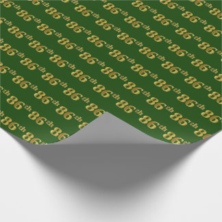 Green, Faux Gold 86th (Eighty-Sixth) Event Wrapping Paper