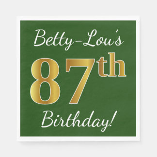 Green, Faux Gold 87th Birthday + Custom Name Paper Napkins