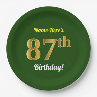 Green, Faux Gold 87th Birthday + Custom Name Paper Plate