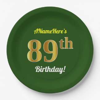 Green, Faux Gold 89th Birthday + Custom Name Paper Plate
