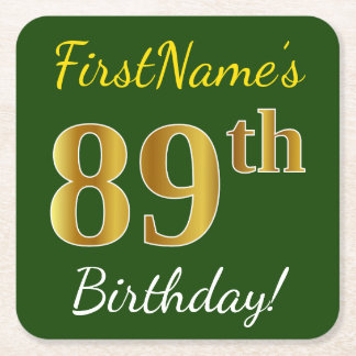 Green, Faux Gold 89th Birthday + Custom Name Square Paper Coaster