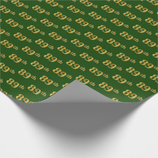 Green, Faux Gold 89th (Eighty-Ninth) Event Wrapping Paper