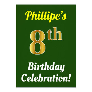 Green, Faux Gold 8th Birthday Celebration + Name Card