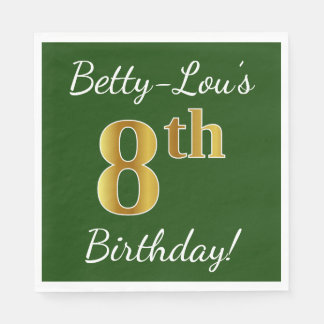 Green, Faux Gold 8th Birthday + Custom Name Disposable Napkins