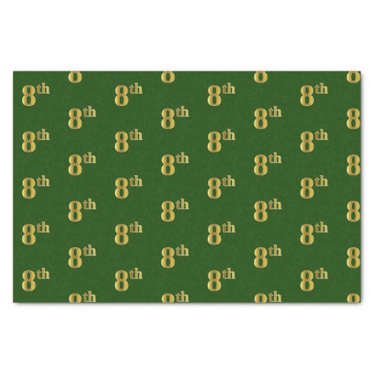 Green, Faux Gold 8th (Eighth) Event Tissue Paper
