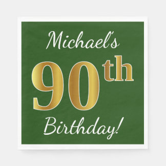 Green, Faux Gold 90th Birthday + Custom Name Disposable Napkins