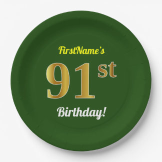 Green, Faux Gold 91st Birthday + Custom Name Paper Plate