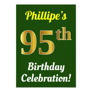 Green, Faux Gold 95th Birthday Celebration + Name Card