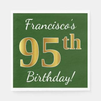 Green, Faux Gold 95th Birthday + Custom Name Paper Napkin