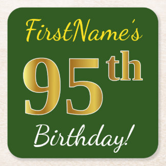 Green, Faux Gold 95th Birthday + Custom Name Square Paper Coaster