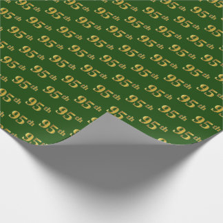 Green, Faux Gold 95th (Ninety-Fifth) Event Wrapping Paper