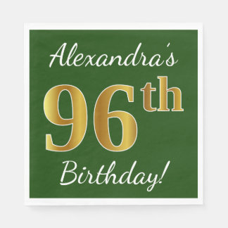 Green, Faux Gold 96th Birthday + Custom Name Disposable Napkin