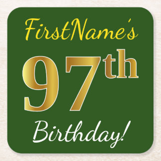 Green, Faux Gold 97th Birthday + Custom Name Square Paper Coaster