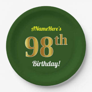 Green, Faux Gold 98th Birthday + Custom Name Paper Plate