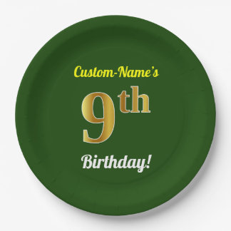 Green, Faux Gold 9th Birthday + Custom Name Paper Plate