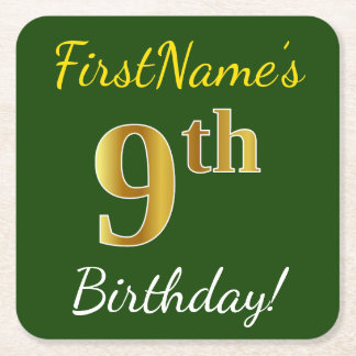 Green, Faux Gold 9th Birthday + Custom Name Square Paper Coaster