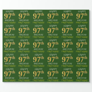 """Green, Faux Gold """"HAPPY 97th BIRTHDAY"""" Wrapping Paper"""