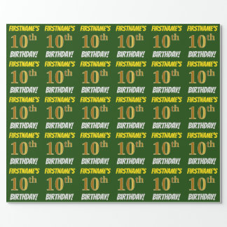 "Green, Faux/Imitation Gold, ""10th BIRTHDAY"" Wrapping Paper"