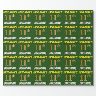 "Green, Faux/Imitation Gold, ""11th BIRTHDAY"" Wrapping Paper"