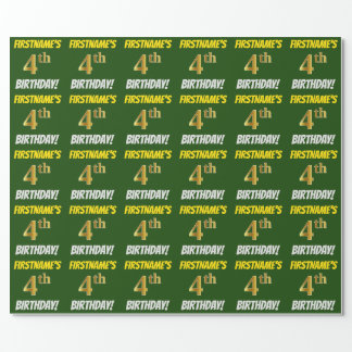 """Green, Faux/Imitation Gold, """"4th BIRTHDAY"""" Wrapping Paper"""