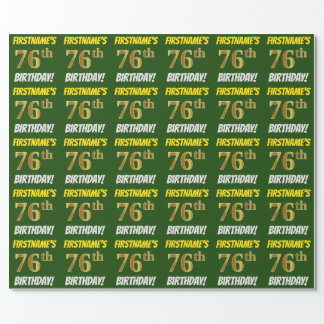 """Green, Faux/Imitation Gold, """"76th BIRTHDAY"""" Wrapping Paper"""