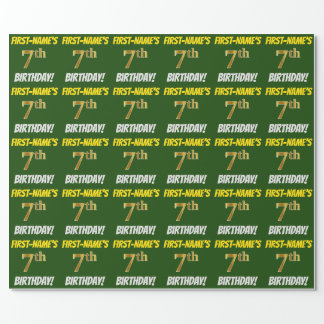 """Green, Faux/Imitation Gold, """"7th BIRTHDAY"""" Wrapping Paper"""