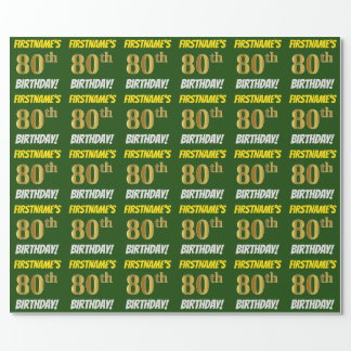 "Green, Faux/Imitation Gold, ""80th BIRTHDAY"" Wrapping Paper"