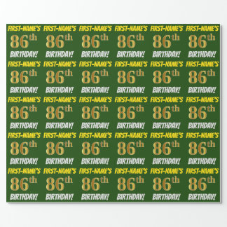 """Green, Faux/Imitation Gold, """"86th BIRTHDAY"""" Wrapping Paper"""