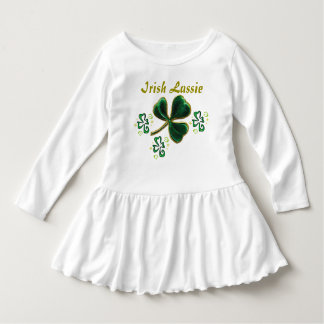 Green Faux Velvet Clover Irish Lassie Dress
