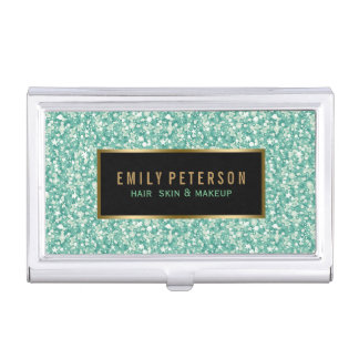 Green Fax Glitter With Black & Gold Accents Business Card Holder